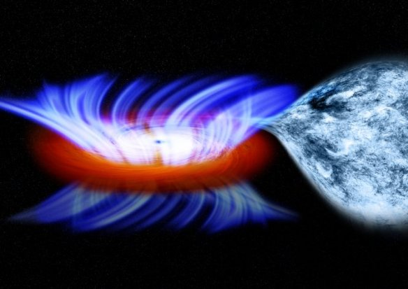 Artist impression of an X-ray binary with a strong disk wind. Credit: NASA's Goddard Space Flight Center / Chandra X-ray observatory / M. Weiss