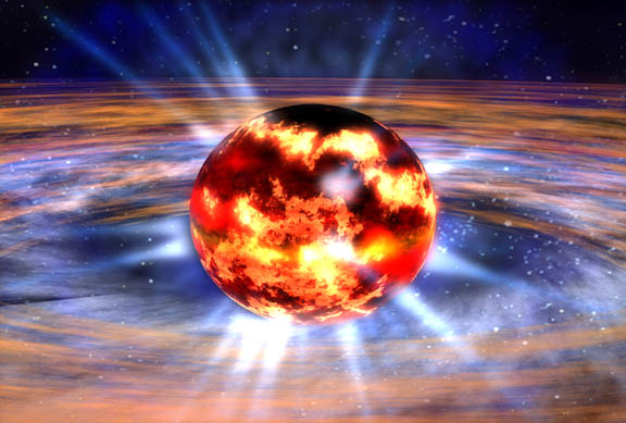 Artist's concept of an explosion on the surface of a neutron star. Credit: NASA/Dana Berry.