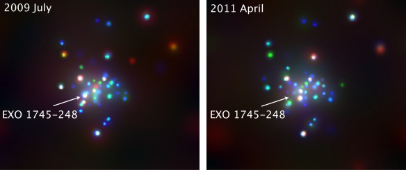 Three-color images of the globular cluster Terzan 5, obtained with the Chandra X-ray satellite.